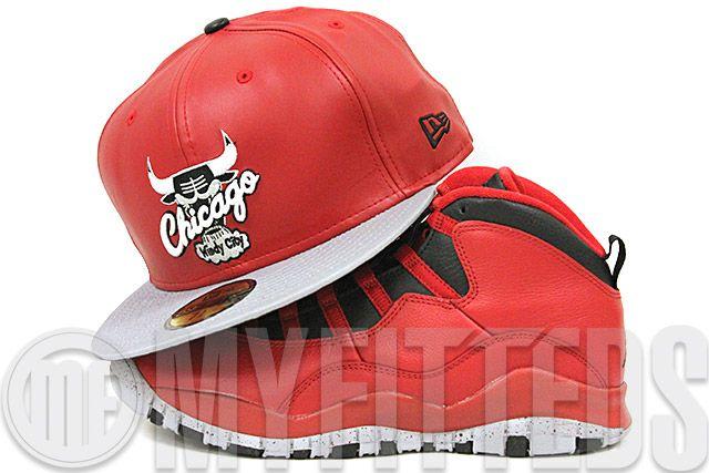 Chicago Bulls Garnet Fire Faux Leather Placid Gray Air Jordan X Bulls over Broadway Matching New Era Fitted Cap
