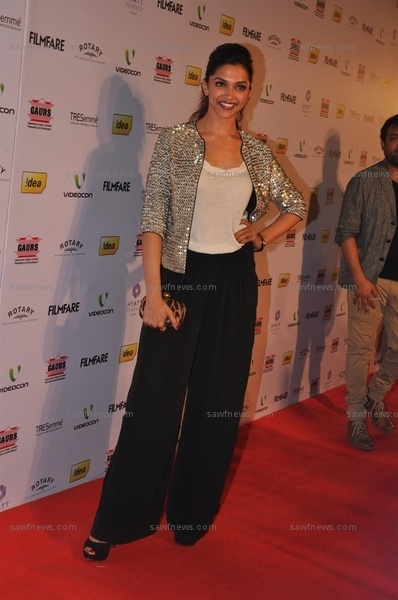 Deepika Padukone wore Cue by Rohit and Rahul Gandhi wide leg pants and a glittering jacket at the 58th Idea! Filmfare Awards nominations party at Hotel Hyatt Regency in Andheri, Mumbai on Monday, January 14.