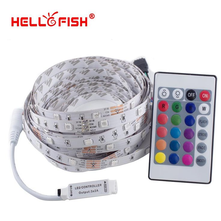 Hello Fish 5M 12V 5050 RGB LED strip,150 LED tape +24/44 key remote controller Kit Flexible LED Tape kit www.peoplebazar.net    #peoplebazar