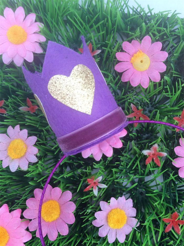 Purple Crown with Gold Glitter Heart Headband for Heartfelt Fundraiser