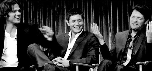 SPNG Tags: Sam / Dean / Castiel / Jared / Jensen / Misha / LAUGHING Looking for a particular Supernatural reaction gif? This blog organizes them so you don't have to spend hours hunting them down.