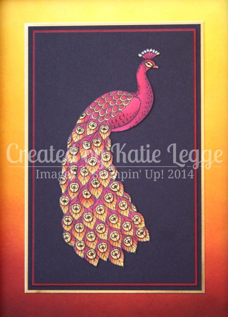 Katie Legge Stampin Up Perfect Peacock Phoenix Frame Coloured with Blendabilities Close Up www.rachelleggestampinup.wordpress.com