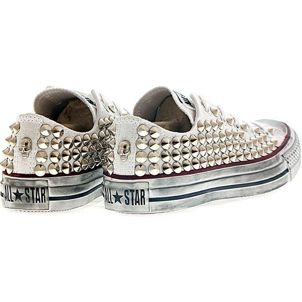 Studded Converse, Csutom converse White Low with Silver Cone Studs by... ($145) ❤ liked on Polyvore