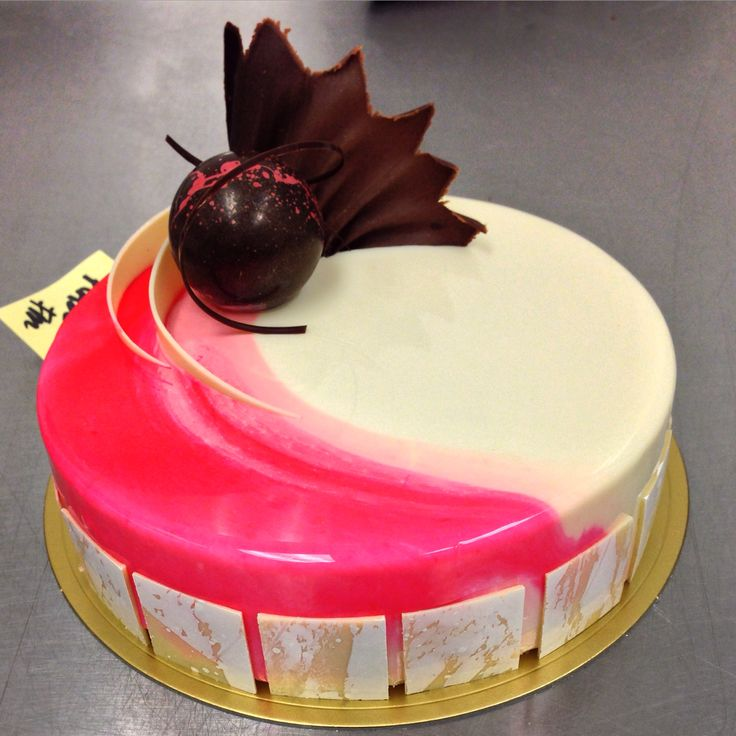 White chocolate raspberry entremet. #entremet #pastry Done at Norman Love Confections in Fort Myers, FL