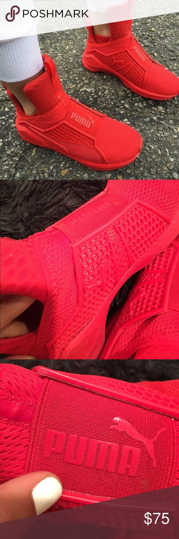 RHIANNA PUMA FENTY TRAINER RED PERFECT CONDITION. I wore these like twice. Amazing shoe super comfortable just a little small for me. I AM OPEN TO TRADES. OR YOU CAN PURCHASE :) Shoes Sneakers