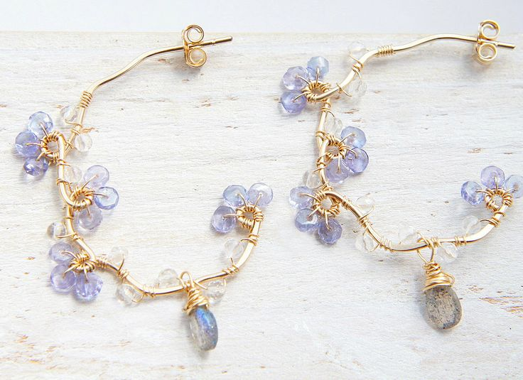 Forget me not Earrings, Tanzanite Jewelry, Blue Violet Gemstone, Gold Vine Hoop by Yukojewelry on Etsy https://www.etsy.com/listing/248545584/forget-me-not-earrings-tanzanite-jewelry