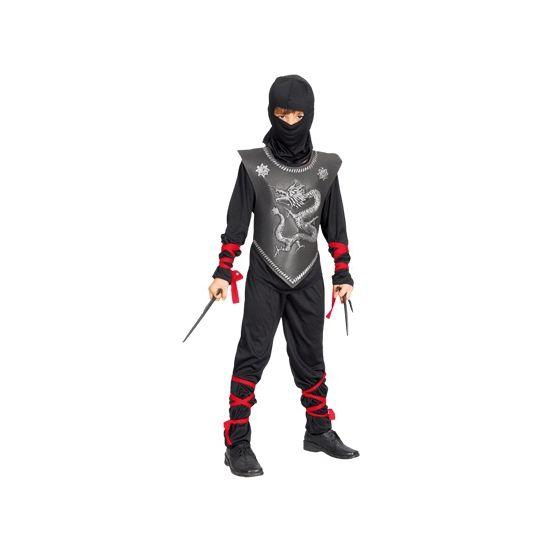 Ninja kostuum voor kinderen. Dit complete ninja kostuum voor kinderen bestaat uit een shirt met borststuk en lint, een broek met lint en een muts. Carnavalskleding 2015 #carnaval