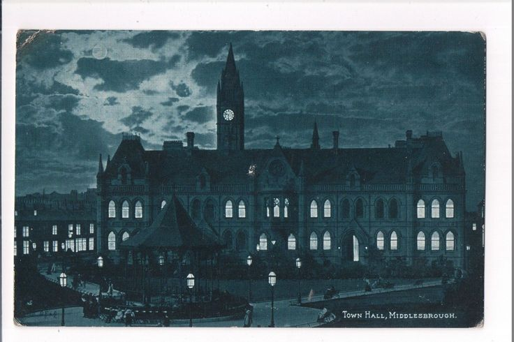Middlesbrough Town Hall at night postcard 1900's