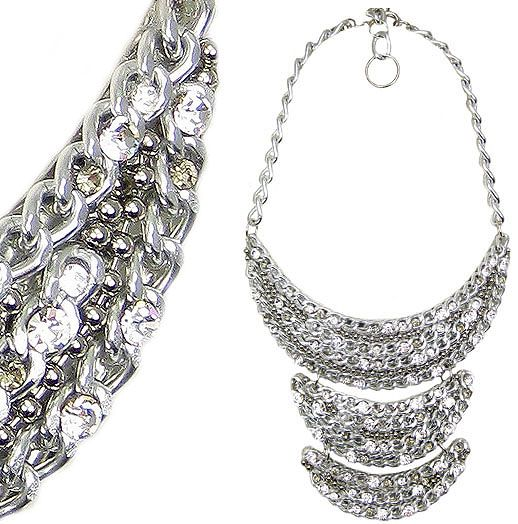 Jewellery by Karen silver tone chain and rhinestone bib necklace. Details: http://jewellerybykaren.com/boutique/necklaces/necklace-1054n