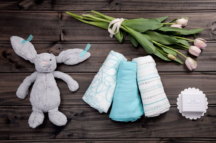 Blue Snuggle Bunny- available now at thespecialdeliverycompany.com.au - Jellycat medium silver-grey bashful bunny, Aden & Anais bamboo swaddles (pack of 3) and Lauren Hinkley Australia four natural vegetable soaps with shea butter to moisturise and cleanse baby's skin.