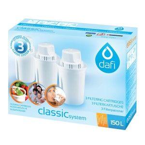 Dafi filterpatron och kanna tar effektivt bort kalk, klor, järn och tungmetaller såsom bly och kvicksilver. Filtret tar även bort rester av bekämpningsmedel samt läkemedelsrester som kan komma ut i våra vattendrag.