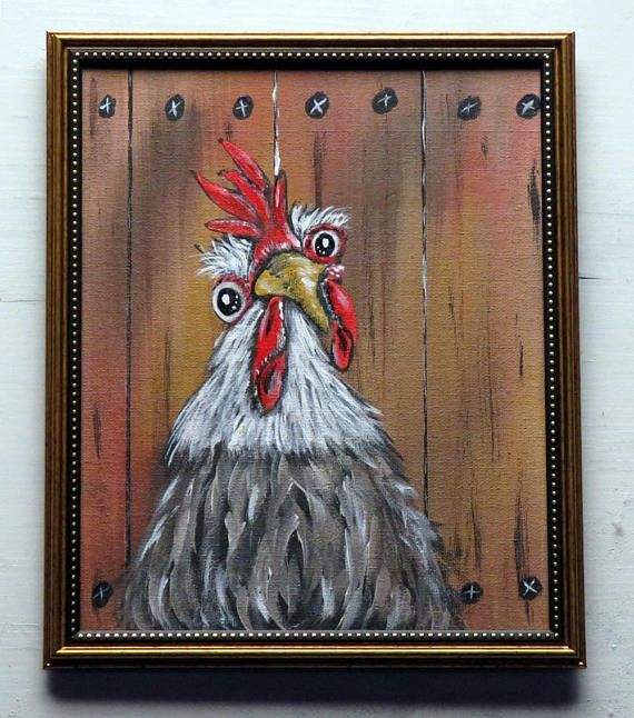 Original Painting Chicken Wall Art Whimsical Rooster Wall Etsy Painting Rooster Art Original Paintings