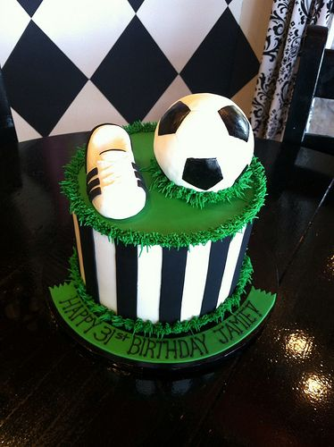 Soccer themed birthday cake. Like this idea for their own little cake along with the split cake