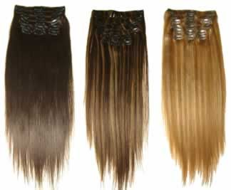 •Babe - Full Head Clip-on Extensions.   •Real Human Hair.   My favorite extensions. Cost is around $105.00 if you are licensed.