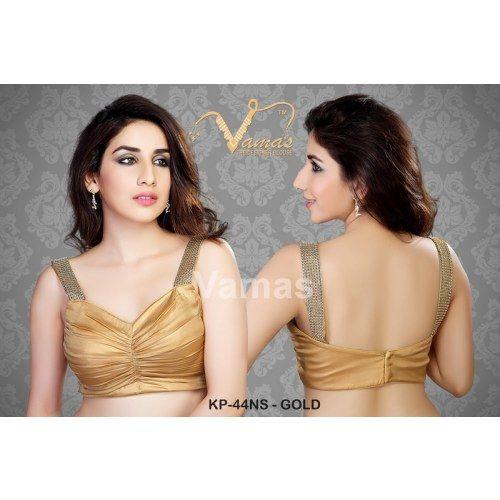 Sexy gold spaghetti saree blouse  - Kp 44nsg - gold Muhenera presents vamas designer collection