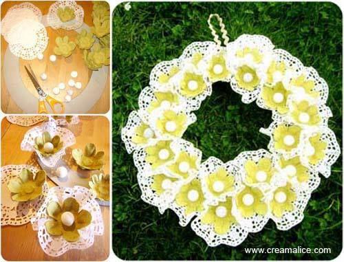 Στεφάνι με λουλούδια από τουρτοδαντέλες