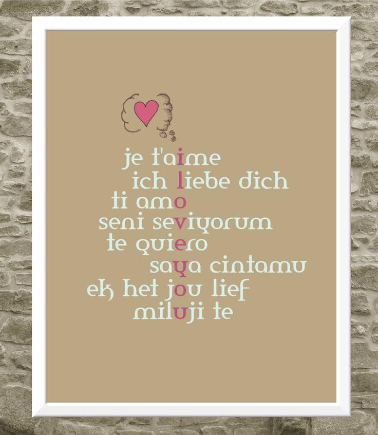 Love In Italian Translation: Typography Art