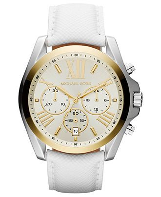 Michael Kors Mid-Size Two-Tone Stainless Steel Bradshaw Chronograph Watch,  White - Neiman Marcus Last Call