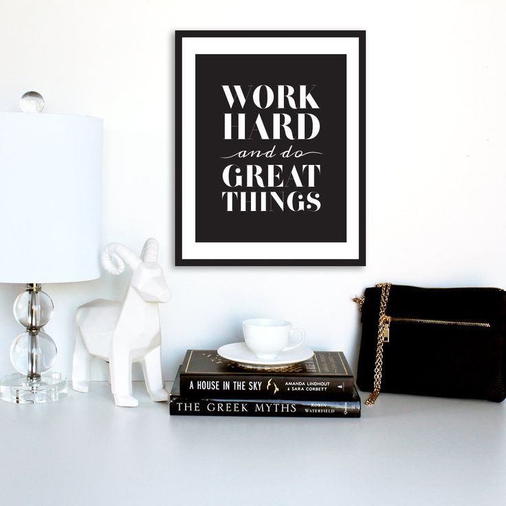 "Motivational Print,""Work Hard And Do Great Things"", Inspirational Poster, Typography Poster, Digital Print, Printable Poster by TheDesignHouzz on Etsy"