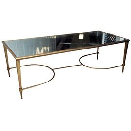 Gilt Metal  Mirrored Glass Cocktail Table  MidCentury  Modern, Traditional, Transitional, Glass, Metal, Coffee  Cocktail Table by Blithewold Home