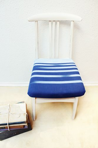 upholstered chair with stripes