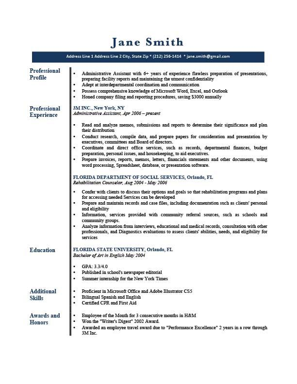 Professional Resume Templates Resume Profile Professional