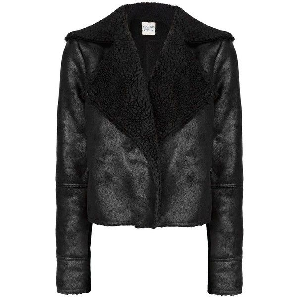MANGO Faux shearling-lined jacket (€41) ❤ liked on Polyvore featuring outerwear, jackets, coats, casacos, coats & jackets, black, mango jacket, black faux jacket, shearling lined jacket and faux jacket