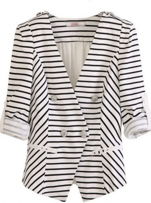 white stripe puff sleeve suit collar chiffon coat