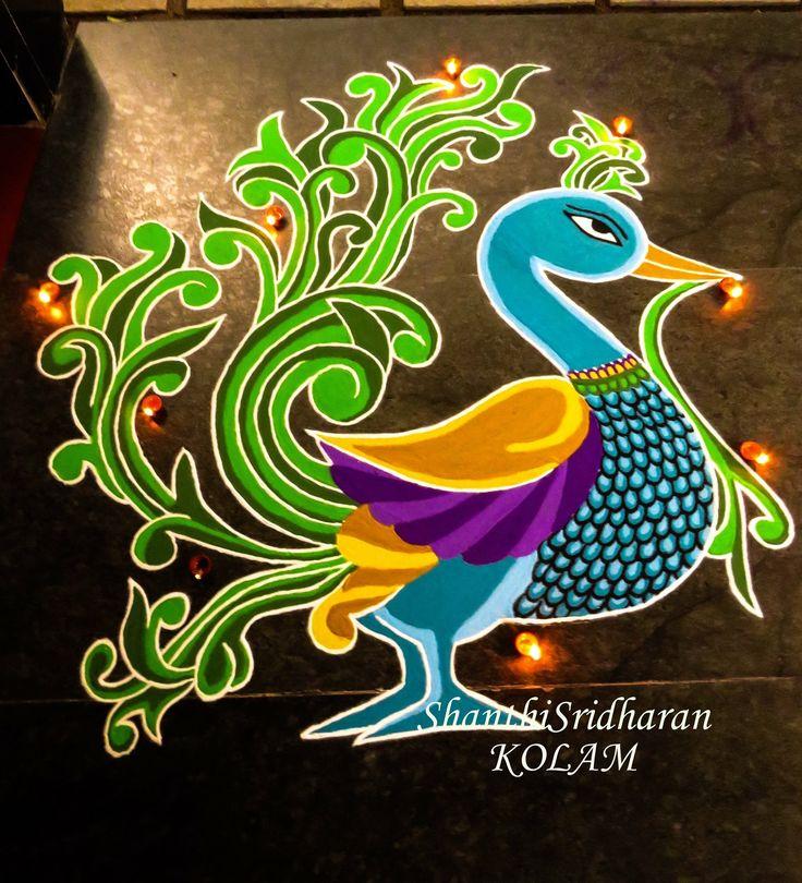 #kolam#peacock#myil#purple#koyal#yellowgreen#blue