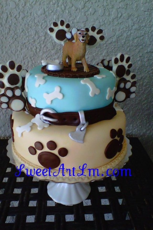 cake for my PAWSITIVE GEMS BBQ - bottom tier blue, top tier yellow - red collar and platform on top