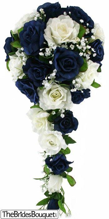 TheBridesBouquet.com - Navy Blue and Ivory Silk Rose Cascade - Bridal Wedding Bouquet, $44.99 (http://www.thebridesbouquet.com/navy-blue-and-ivory-silk-rose-cascade-bridal-wedding-bouquet/)