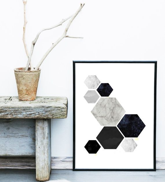 Geometric Art, Printable Art, Hexagon Print, Geometric Print, Scandinavian Art, Wall Decor, Abstract Art Print, Instant download  Print out on your