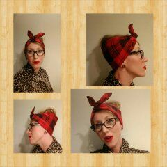 Extra Wide Women's 1940's Retro Vintage flannel plaid lumberjack head wrap by KamnationClothing