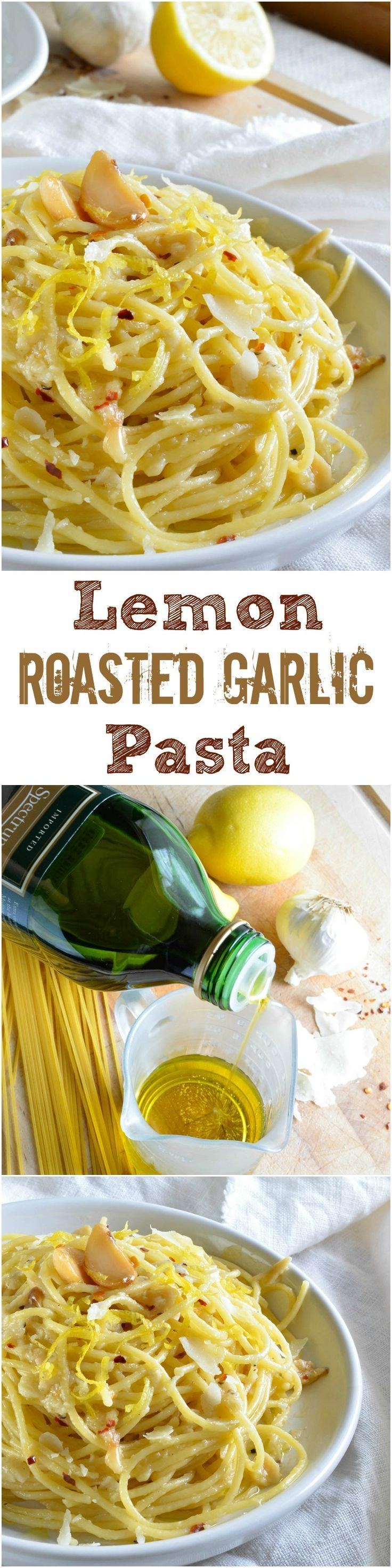 Lemon Garlic Pasta Recipe - A simple dinner idea or filling side dish.  Pasta tossed with lemon, premium olive oil, red pepper flakes, parmesan cheese and roasted garlic. #pasta #dinner wonkywonderful.com