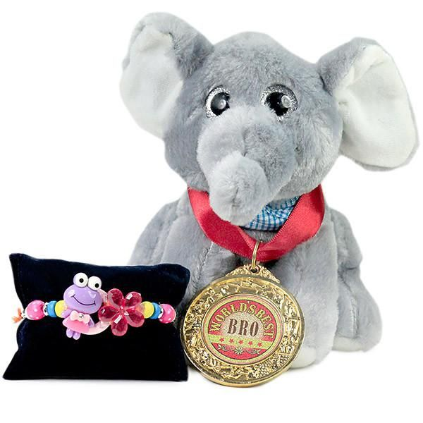 Soft Toy & Cute Beaded Rakhi This gift hamper contains 1 cute rakhi, roli chawal, 1 greeting card, elephant soft toy and ''World''s best bro'' medal. Additional products shown in the image are for illustrative purpose only. | Rs. 1,024 | Shop Now | https://hallmarkcards.co.in/collections/rakhi/products/shop-rakhi-wishes