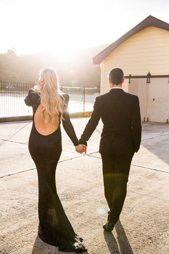Black tie engagement photos