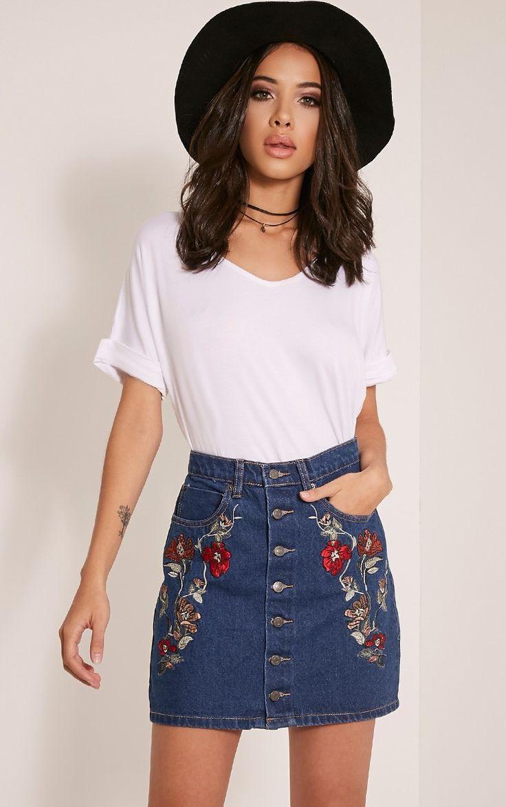 Elisha Dark Wash Embroidered Denim Mini Skirt Image 1
