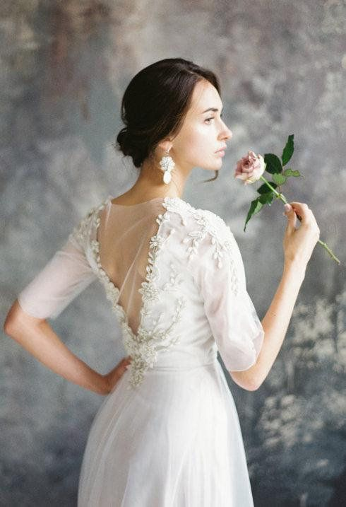 SINLED / floral rich hand embroidery wedding dress ethereal tulle bridal gown ro…