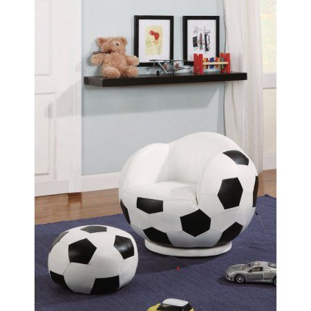 Astonishing Gamer Choice Soccer Ball Chair Ottoman White Black Ocoug Best Dining Table And Chair Ideas Images Ocougorg