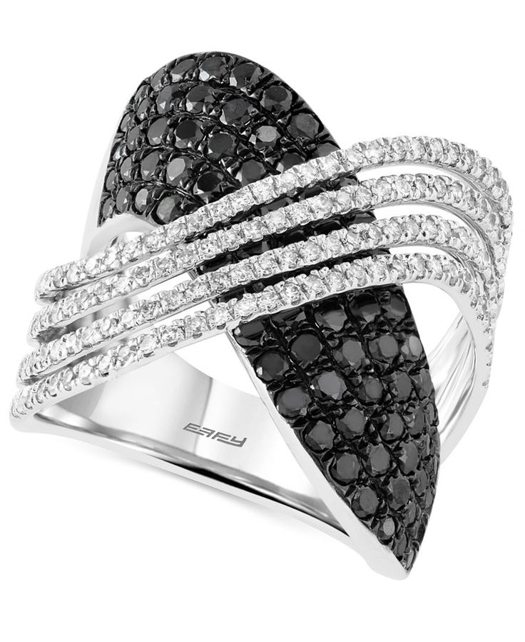 Caviar By Effy Black and White Diamond (2 ct. t.w.) Crossover Ring in 14k White Gold