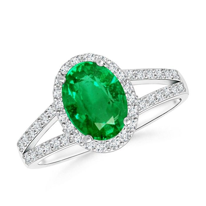 Angara Round Natural Emerald Curved Shank Ring in Platinum mxF0O7v8Dd