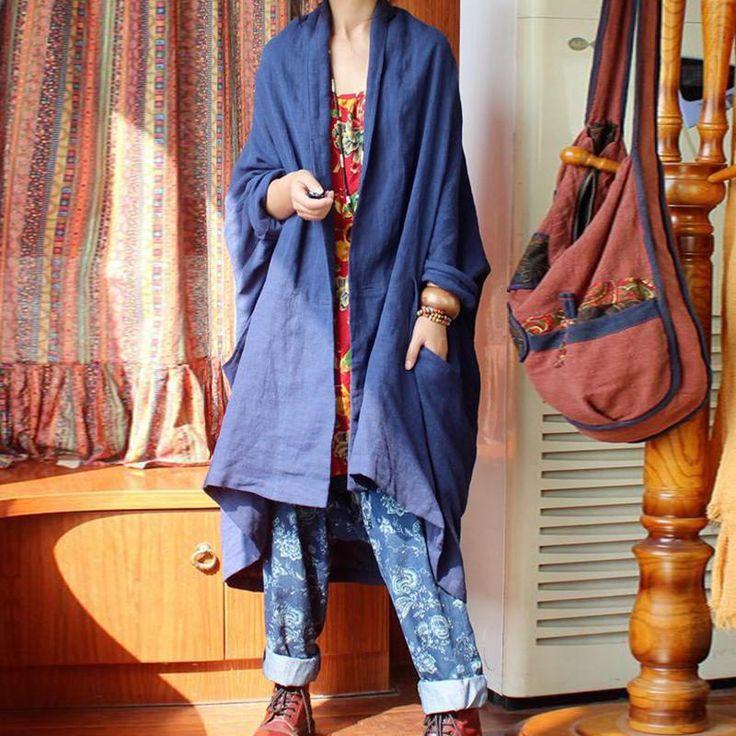 Retro Style Loose Fit Linen Coat