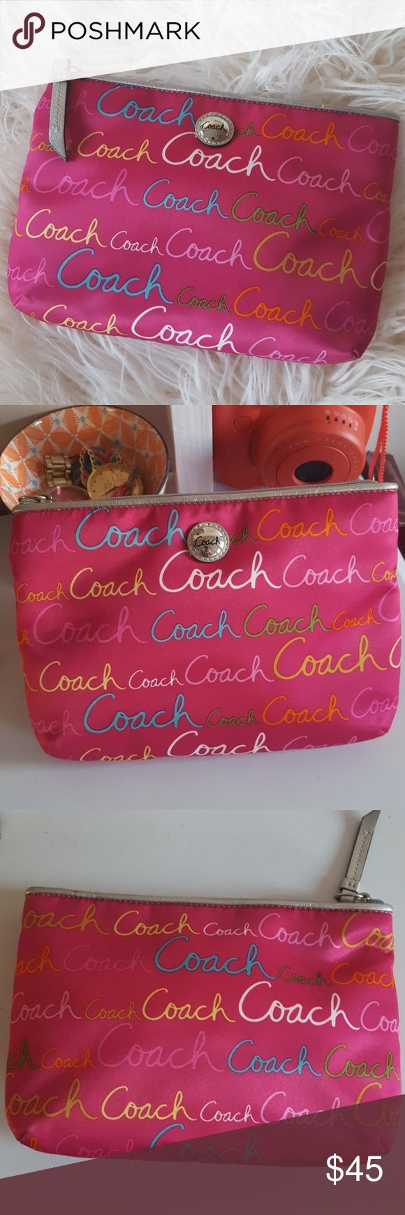 "Coach Clutch Pink and more colors Cute Coach Clutch. Never been used. Measures approx 9"" x 6"". Last two pics using flash. Coach Bags Clutches & Wristlets"