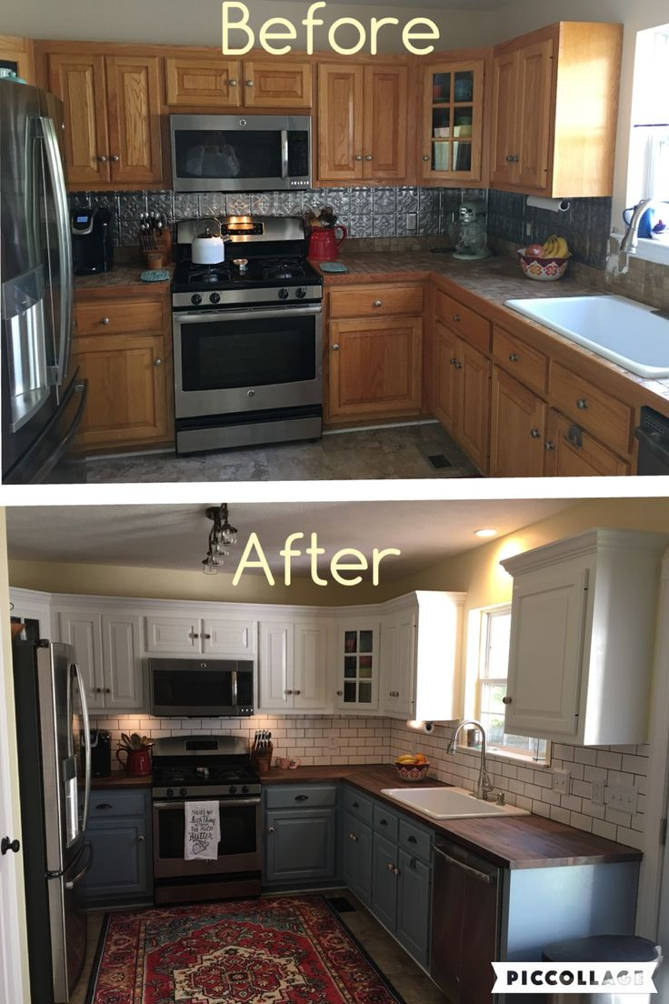 Two toned cabinets. Valspar Cabinet Enamel from Lowes = Successful kitchen updating! Best cabinet paint by far!