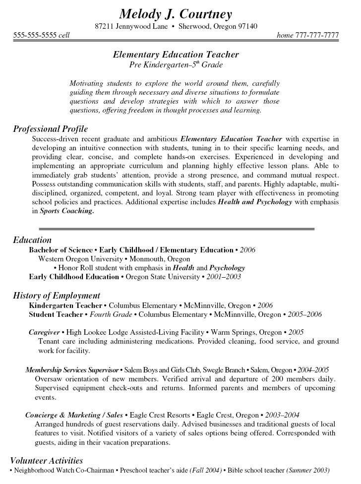 Sample Teacher Resumes Sample Cover Page Teacher Resume