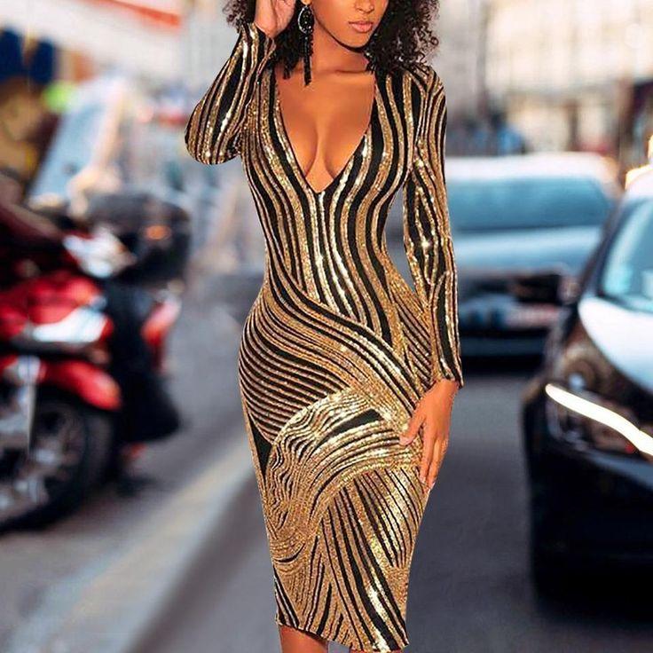 Sexy Deep V Sequins Striped Slim Bodycon Dresses 2