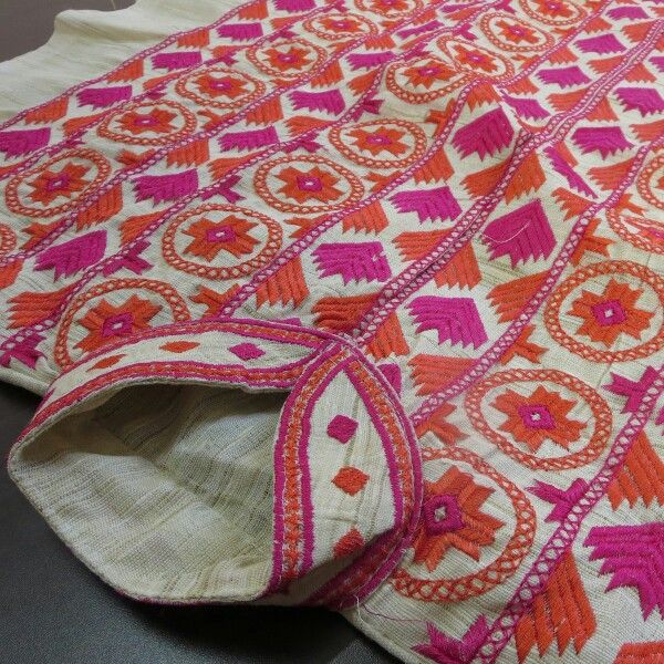 Phulkari Bagh Embroidery on Khadi Kurta
