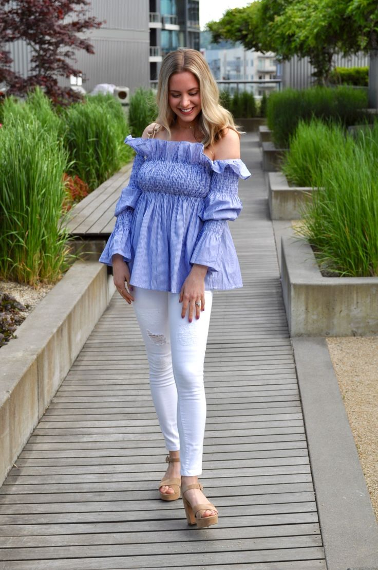 Ruffle off the shoulder babydoll top and white jeasns (via Confessions of a Product Junkie blog.)
