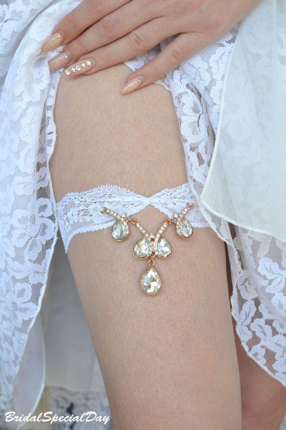 Gold Wedding Garter Rhinestone Garter Lace by BridalSpecialDay