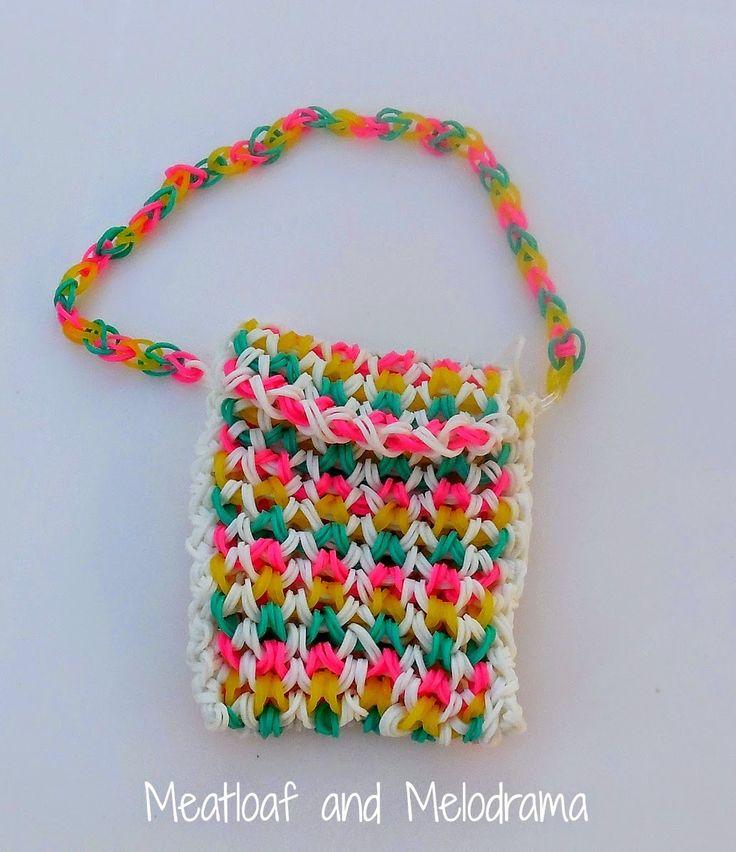 summer loom band projects -- Rainbow Loom purse